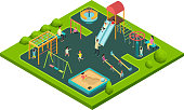 Children playing with parents on kids playground with game equipment. Isometric cartoon vector with 3d little people