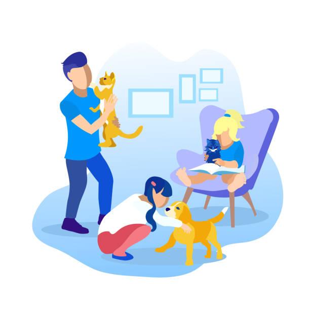 illustrazioni stock, clip art, cartoni animati e icone di tendenza di children playing with pets cartoon illustration - bambino cane