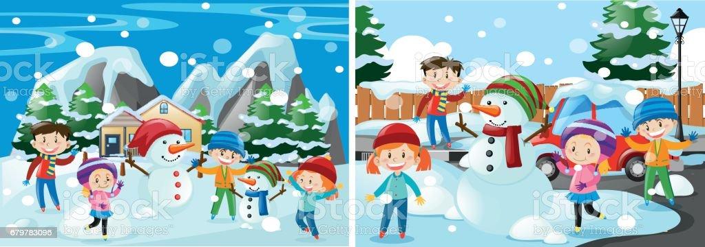 Ilustracion De Ninos Jugando Con La Nieve Y Mas Banco De Imagenes De