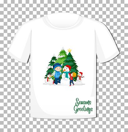 Children playing with snowman in Christmas theme on t-shirt on transparent background