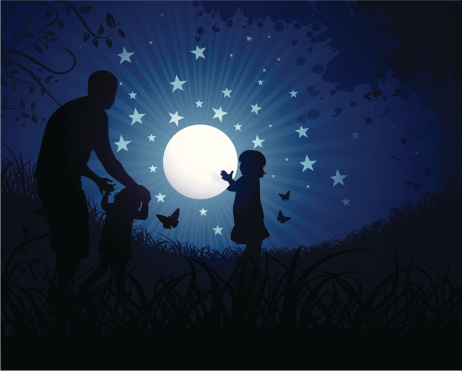 Children playing with the moon
