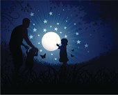 Children playing with the moon.