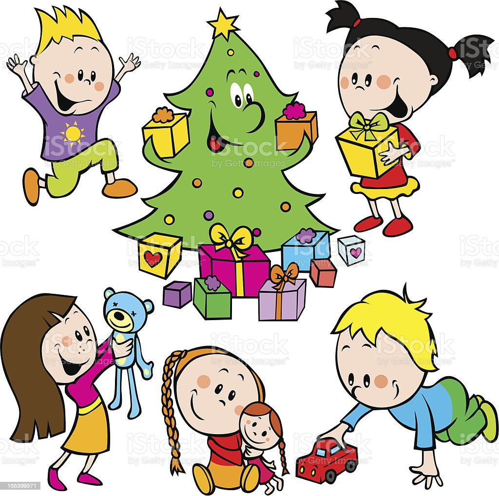 Дети Играют С Игрушками И Рождественская Елка Передачи ...