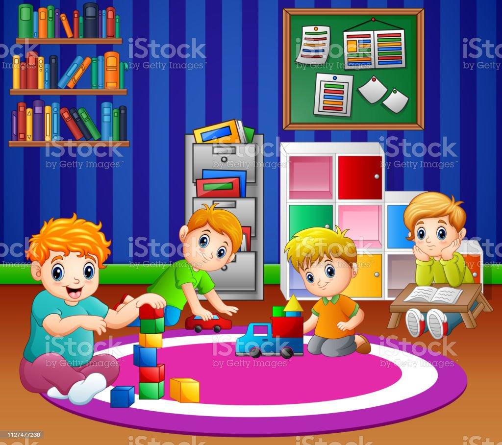 Ilustración de Niños Jugando Con Juguetes En La Sala De ...