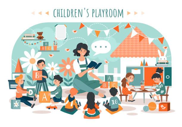 子供のプレイルーム、幼稚園で教師を持つ子供たち、人々ベクトルイラスト - 保育点のイラスト素材/クリップアート素材/マンガ素材/アイコン素材