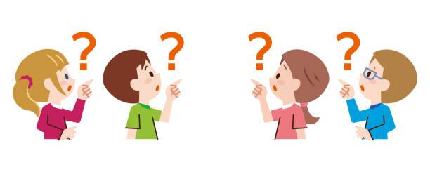 illustrazioni stock, clip art, cartoni animati e icone di tendenza di children pointing at the top. children who are asking questions. - solo giapponesi