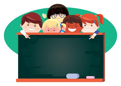children presenting with black board