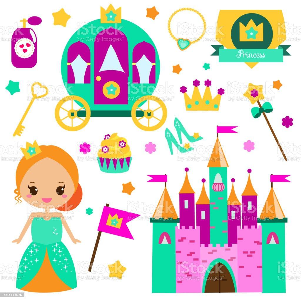 子供プリンセス パーティー デザイン要素ですステッカー女の子のクリップ