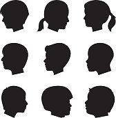 Children Profile Silhouettes 2
