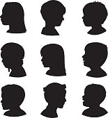 Vector silhouettes of profiles of children.