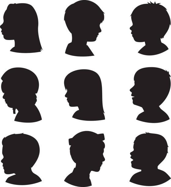 어린이 프로 실루엣 3 - 자녀 실루엣 stock illustrations
