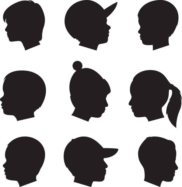 illustrations, cliparts, dessins animés et icônes de profil d'enfants silhouettes - famille avec enfants