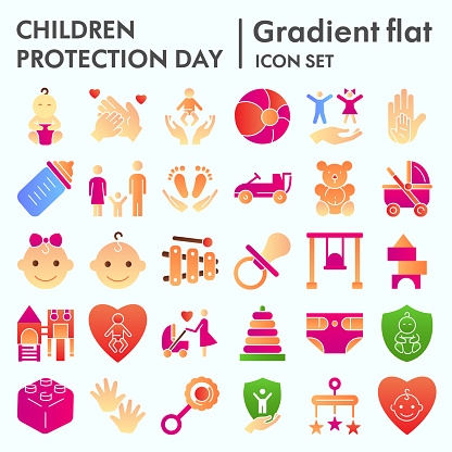 Children protection day flat icon set, baby stuff symbols collection, vector sketches, logo illustrations, kids care signs, gradient pictograms package isolated on white background, eps 10.