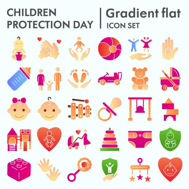 子供の保護日フラットアイコンセット、赤ちゃんのものシンボルコレクション、ベクトルスケッチ、ロゴイラスト、子供のケアサイン、白い背景に分離されたグラデーションピクトグラムパ� - シングルマザー点のイラスト素材/クリップアート素材/マンガ素材/アイコン素材