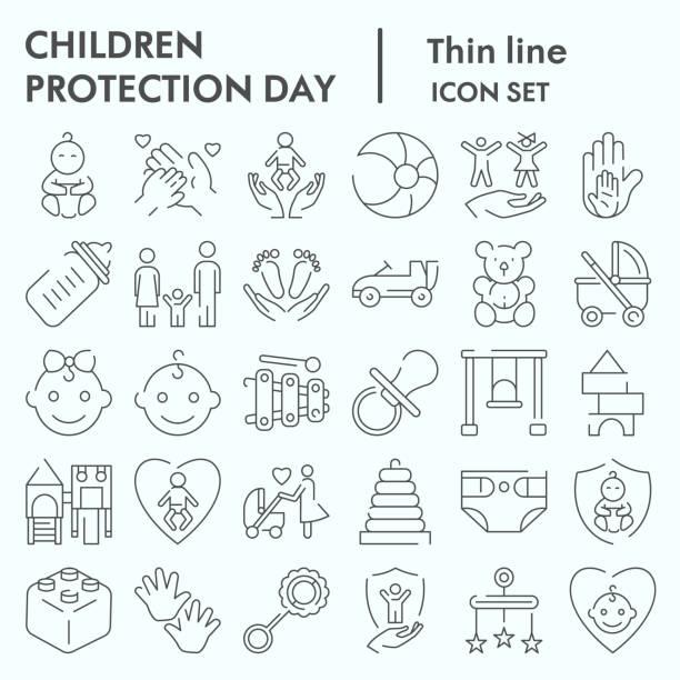 子供保護日細い線のアイコンセット、赤ちゃんスタッフのシンボルコレクション、ベクトルスケッチ、ロゴイラスト、子供のケアサインは、白い背景に隔離された線形ピクトグラムパッケー� - シングルマザー点のイラスト素材/クリップアート素材/マンガ素材/アイコン素材