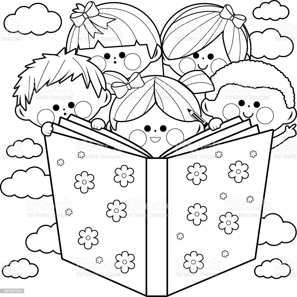 - Children Reading A Book Coloring Book Page Stock Illustration