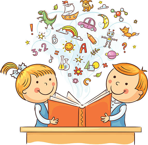 Children Reading a Book Together Children reading a book and learning many new things, no gradients. children only stock illustrations