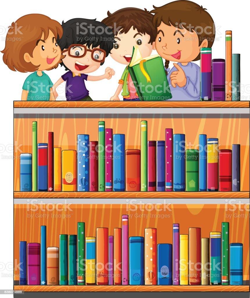 Enfants Lecture De Livres De Bibliotheque Vecteurs Libres De