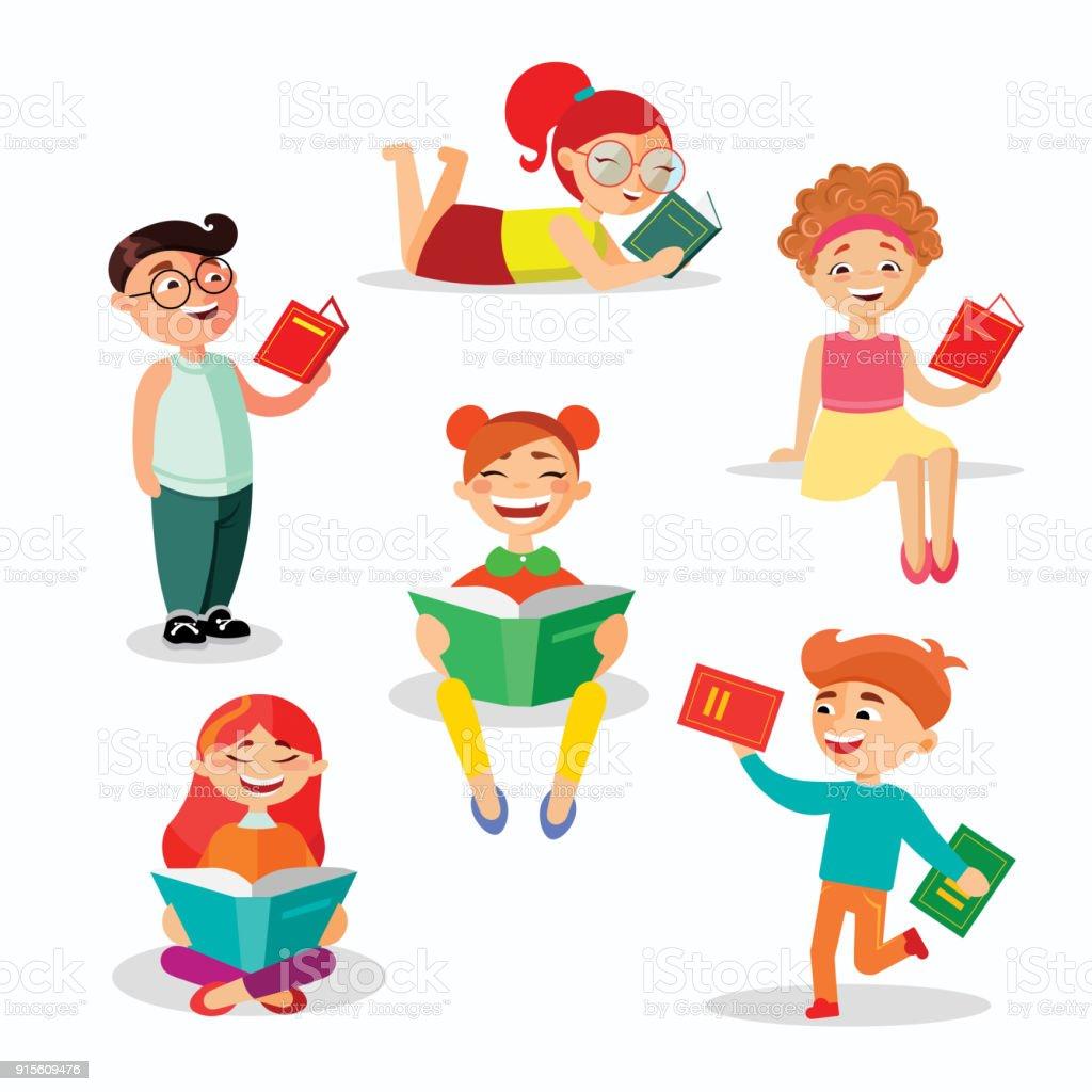 Kinderen lezen boeken set van vectorillustraties in platte ontwerp. Gelukkig meisjes en jongens met boeken geïsoleerd op een witte achtergrond. - Royalty-free Baby vectorkunst