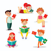 Children reading books set of vector illustrations in flat design. Happy girls and boys with books isolated on white background