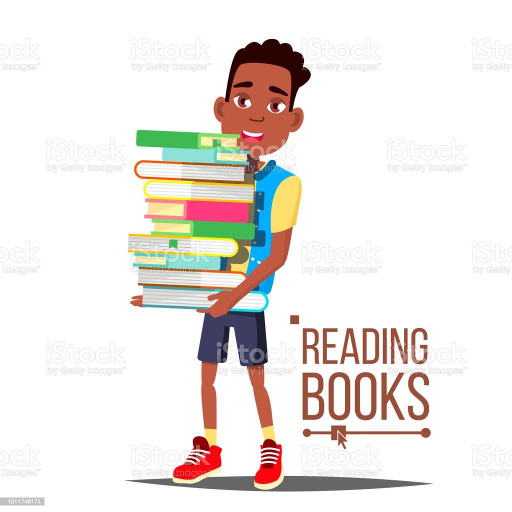 Ilustración De Niños Leyendo Libros Vector Muchacho Americano Arfo