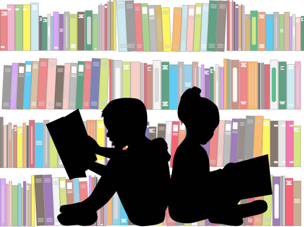 children reading the book. - book silhouettes stock illustrations