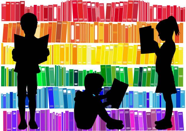 дети, читая книги. - library stock illustrations