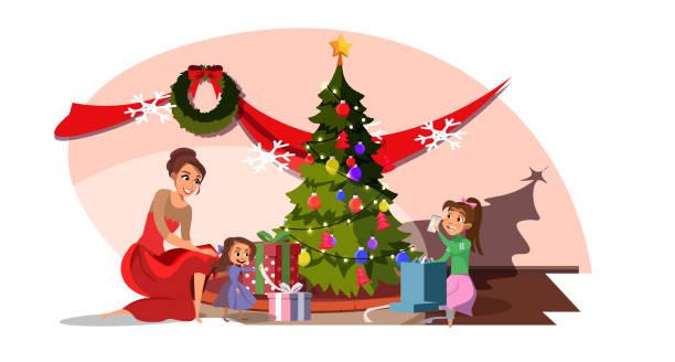 kinder erhalten geschenke in weihnachts-cartoon - wunschkinder stock-grafiken, -clipart, -cartoons und -symbole