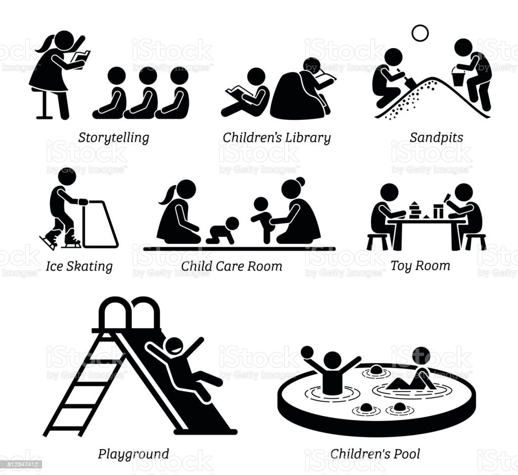 Children Recreational Facilities and Activities. vector art illustration