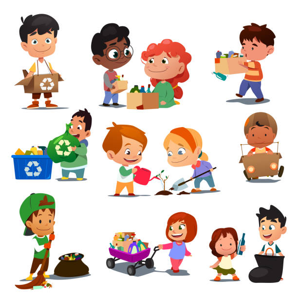 children recycling illustration - child throwing garbage stock illustrations, clip art, cartoons, & icons
