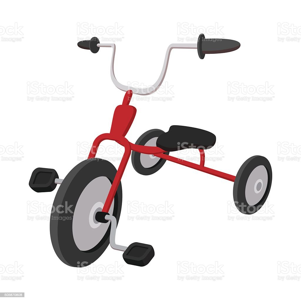 Children red tricycle cartoon icon vector art illustration