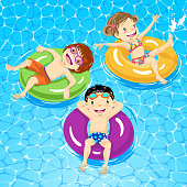 Three kids floating on water with their inner tube in summer.