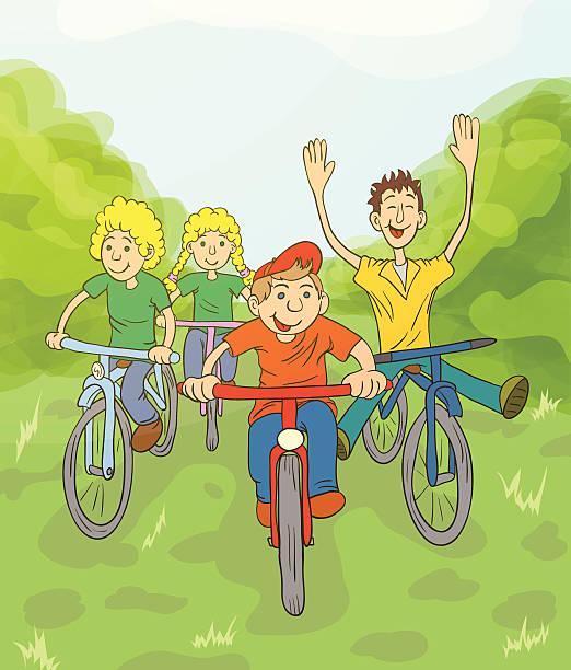 kinder reiten fahrrad - lustige fahrrad stock-grafiken, -clipart, -cartoons und -symbole