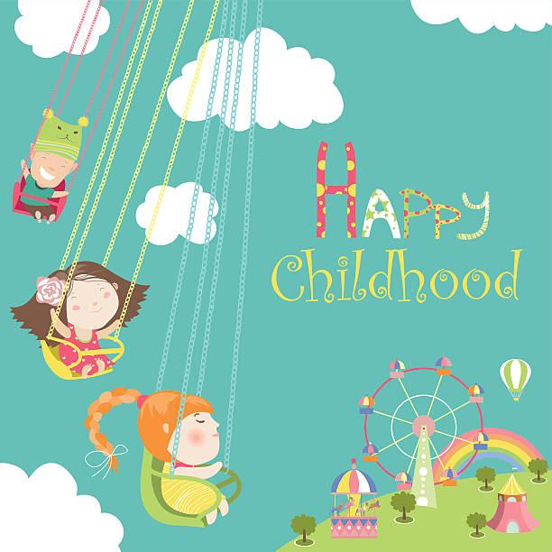 stockillustraties, clipart, cartoons en iconen met children ride on the carousel - mini amusementpark