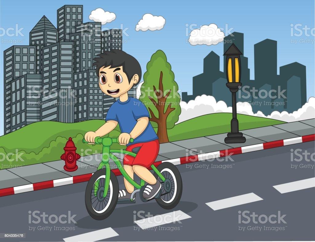Kinder Fahrrad Auf Der Straße Cartoon Stock Vektor Art und