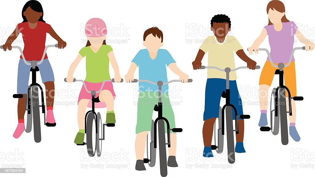 children riding bicycle vector art illustration