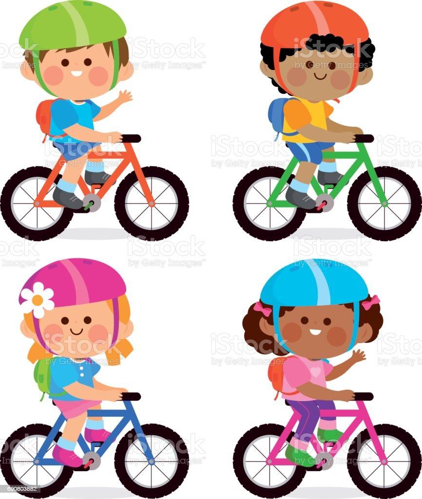 Children riding bicycles and wearing their helmets and backpacks. vector art illustration