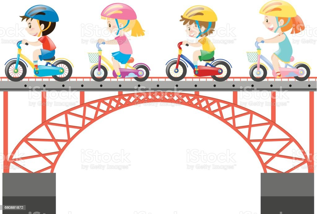 Children riding bike on the bridge royalty-free children riding bike on the bridge stock vector art & more images of activity