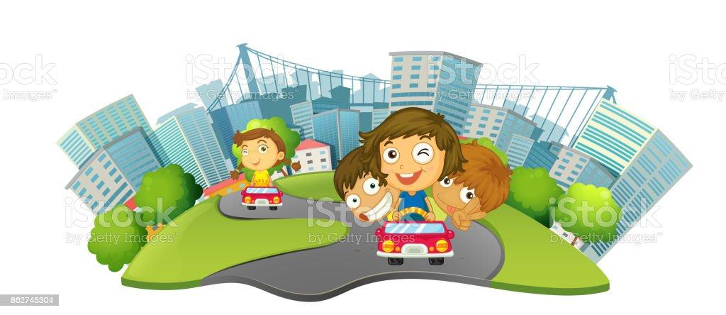 Children riding cars in the city park vector art illustration