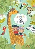 Happy children riding giraffe with other animals. Vector illustration