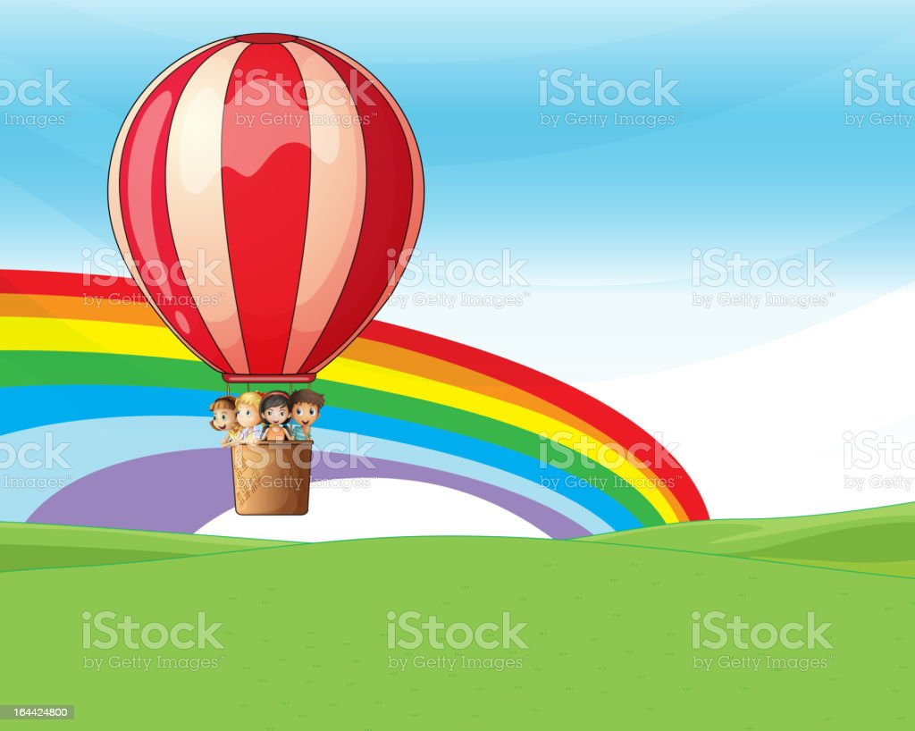 Children riding on a hot air balloon royalty-free children riding on a hot air balloon stock vector art & more images of basket