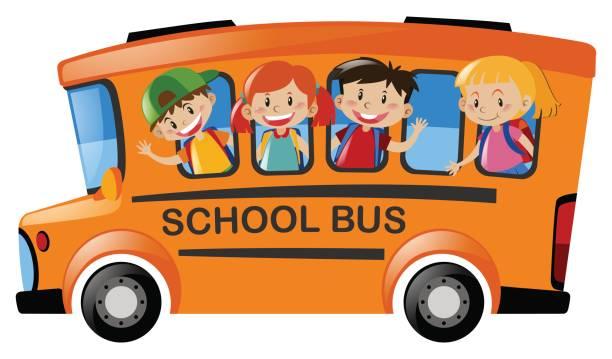 Children riding on school bus vector art illustration