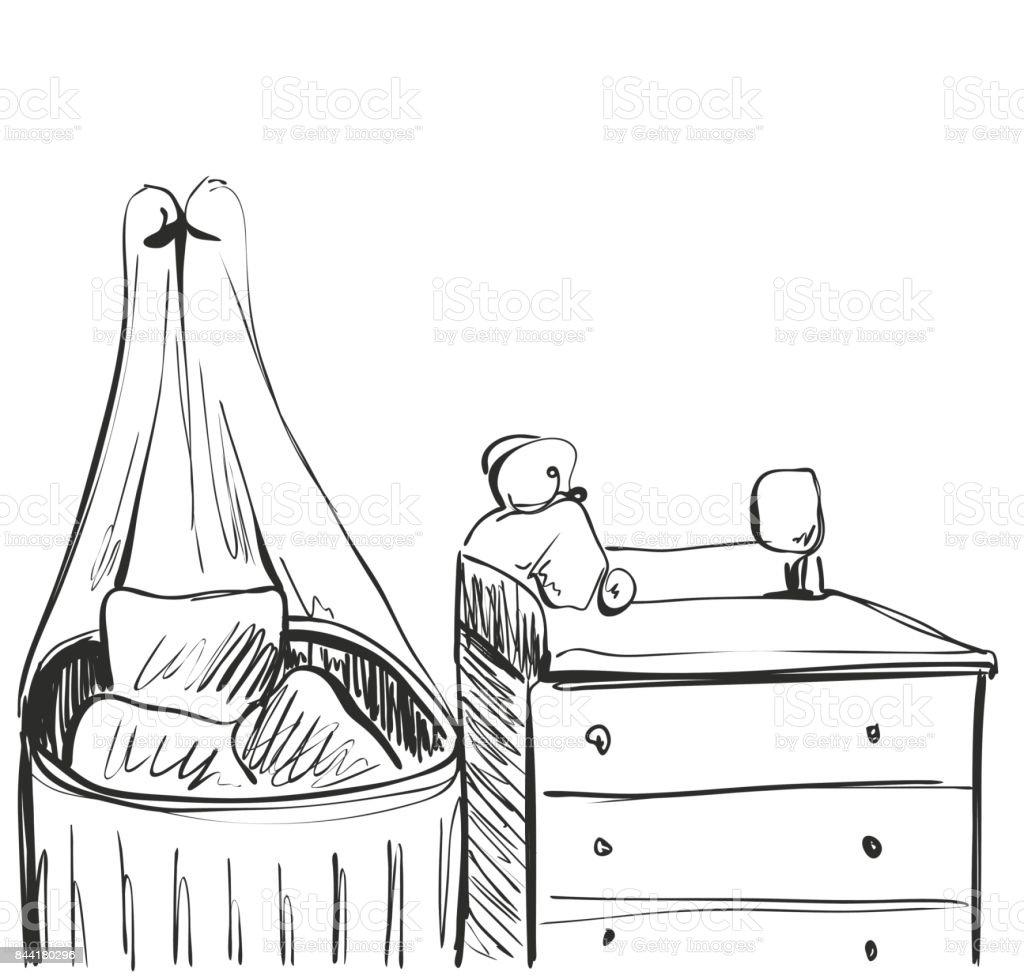 Ilustración de Habitación De Los Niños Bosquejo De Mueble Cama De ...