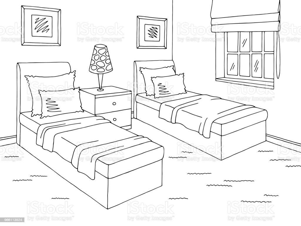 Grafisk svart vita hem interiör skiss illustration vektor för barnrum - Royaltyfri Arkitektur vektorgrafik