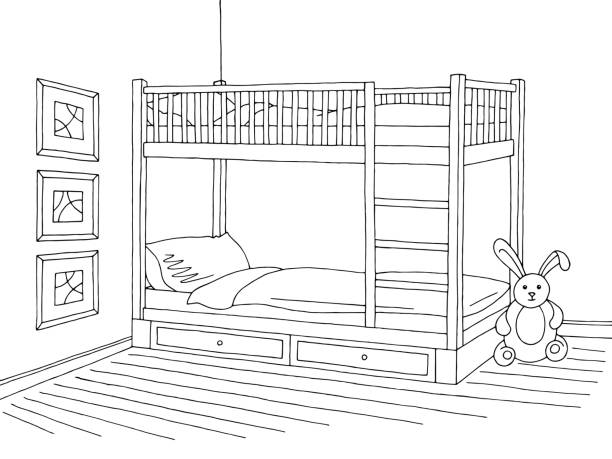Royalty Free Drawing Of A Bunk Bed Clip Art Vector Images