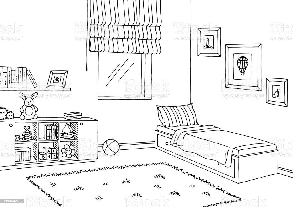 Children room graphic black white interior sketch illustration vector vector art illustration