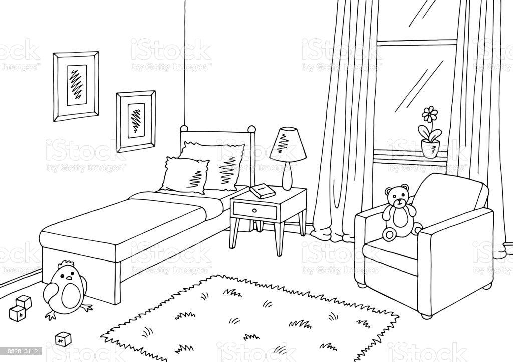 Kinder Zimmer Grafik Schwarz Weissen Innenraum Skizze Abbildung Vektor Lizenzfreies Illustration