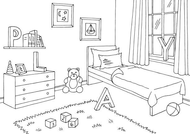 Children room graphic black white interior sketch illustration vector Children room graphic black white interior sketch illustration vector bedroom borders stock illustrations