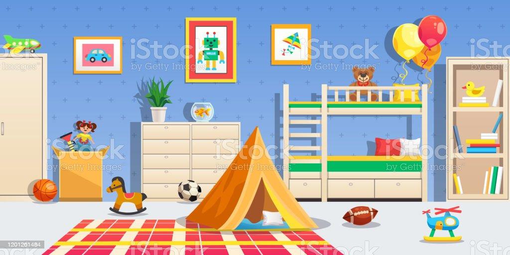 子供部屋の内部横のイラスト おもちゃのベクターアート素材や画像を多数ご用意 Istock