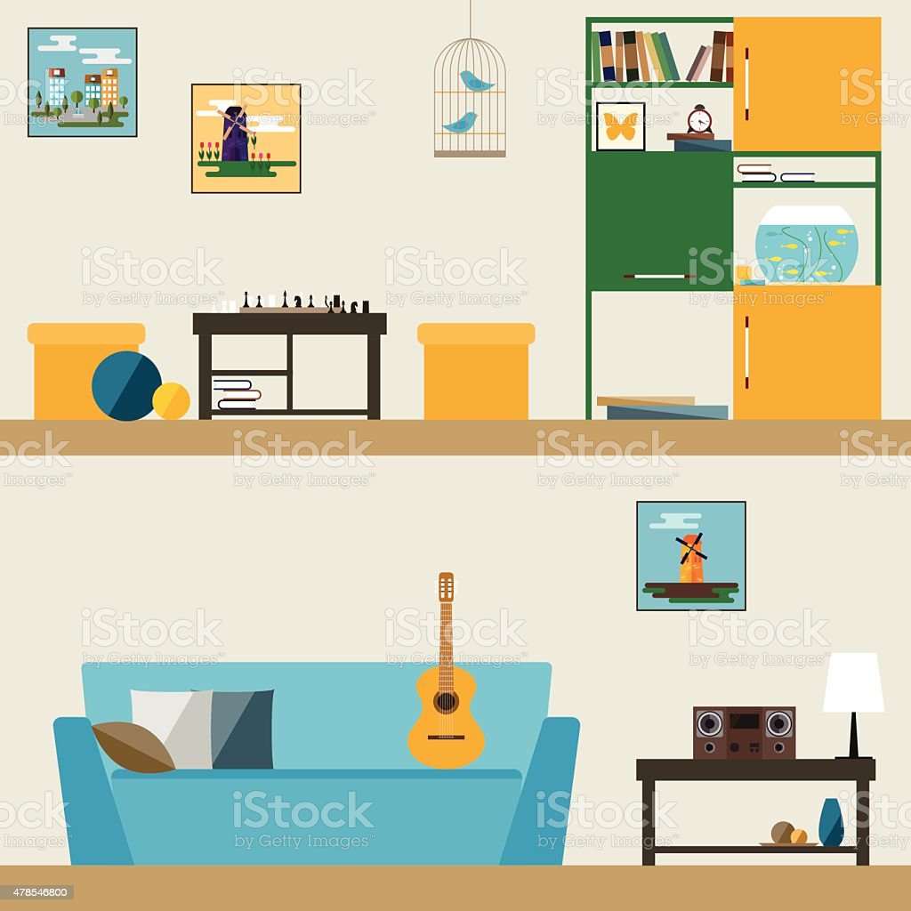 children room interior in trendy flat style for use in design vector art illustration